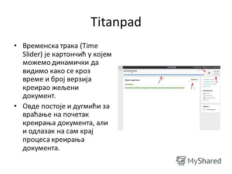 Titanpad Временска трака (Time Slider) је картончић у којем можемо динамички да видимо како се кроз време и број верзија креирао жељени документ. Овде постоје и дугмићи за враћање на почетак креирања документа, али и одлазак на сам крај процеса креир