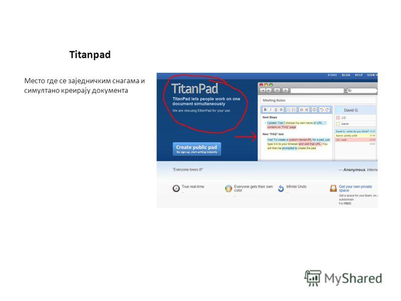 Titanpad Место где се заједничким снагама и симултано креирају документа