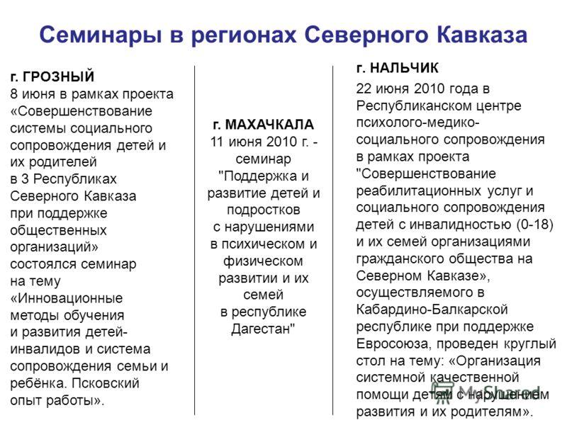 Семинары в регионах Северного Кавказа г. НАЛЬЧИК 22 июня 2010 года в Республиканском центре психолого-медико- социального сопровождения в рамках проекта