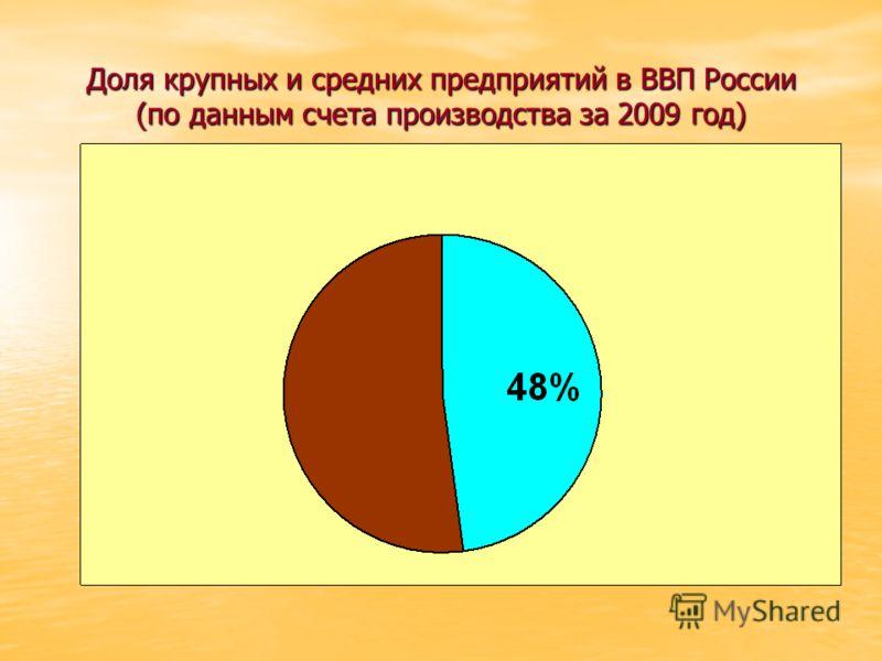 Доля крупных и средних предприятий в ВВП России (по данным счета производства за 2009 год)
