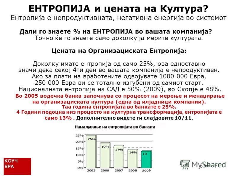 7 Дали го знаете % на ЕНТРОПИЈА во вашата компанија? Точно ќе го знаете само доколку ја мерите културата. Цената на Организациската Ентропија: Доколку имате ентропија од само 25%, ова едноставно значи дека секој 4ти ден во вашата компанија е непродук