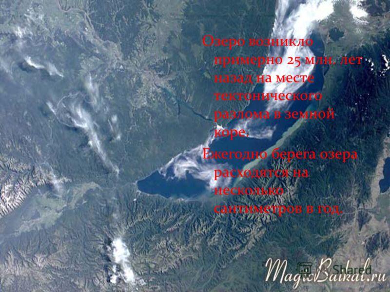 Озеро возникло примерно 25 млн. лет назад на месте тектонического разлома в земной коре. Ежегодно берега озера расходятся на несколько сантиметров в год.