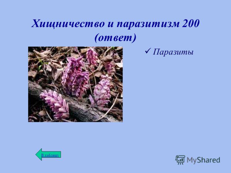 Хищничество и паразитизм 200 (ответ) Паразиты В таблицу