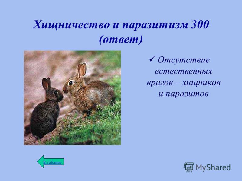 Хищничество и паразитизм 300 (ответ) Отсутствие естественных врагов – хищников и паразитов В таблицу