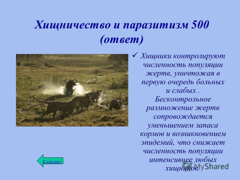 Хищничество и паразитизм 500 (ответ) Хищники контролируют численность популяции жертв, уничтожая в первую очередь больных и слабых. Бесконтрольное размножение жертв сопровождается уменьшением запаса кормов и возникновением эпидемий, что снижает числе