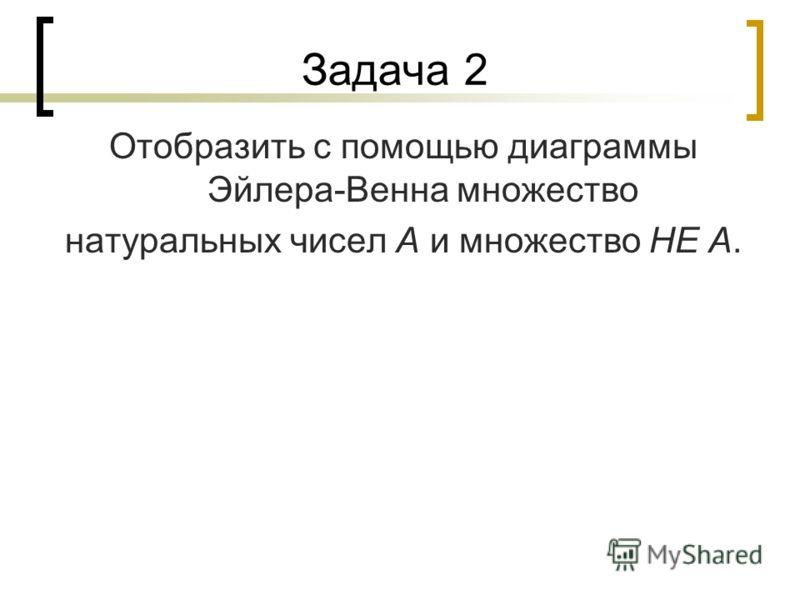 Задача 2 Отобразить с помощью диаграммы Эйлера-Венна множество натуральных чисел А и множество НЕ А.