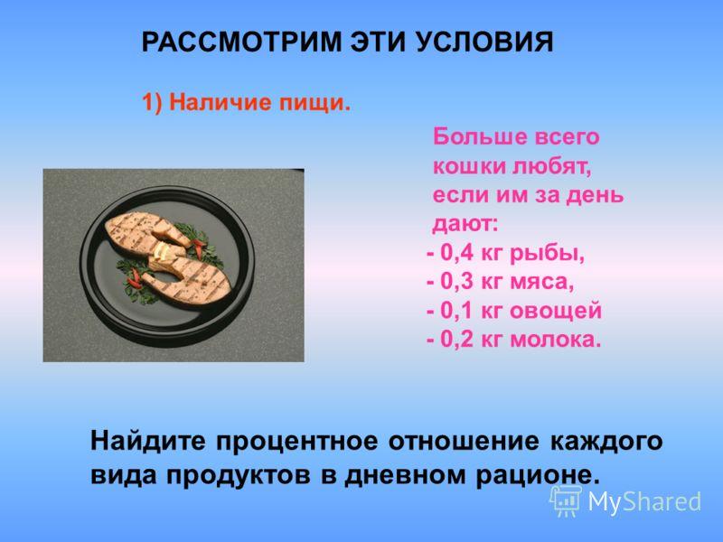 РАССМОТРИМ ЭТИ УСЛОВИЯ 1) Наличие пищи. Найдите процентное отношение каждого вида продуктов в дневном рационе. Больше всего кошки любят, если им за день дают: - 0,4 кг рыбы, - 0,3 кг мяса, - 0,1 кг овощей - 0,2 кг молока.