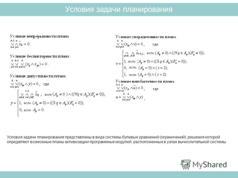 Условия задачи планирования Условия задачи планирования представлены в виде системы булевых уравнений (ограничений), решения которой определяют возможные планы активизации программных модулей, расположенных в узлах вычислительной системы. если