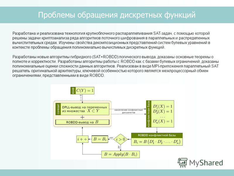 Проблемы обращения дискретных функций Разработана и реализована технология крупноблочного распараллеливания SAT-задач, с помощью которой решены задачи криптоанализа ряда алгоритмов поточного шифрования в параллельных и распределенных вычислительных с