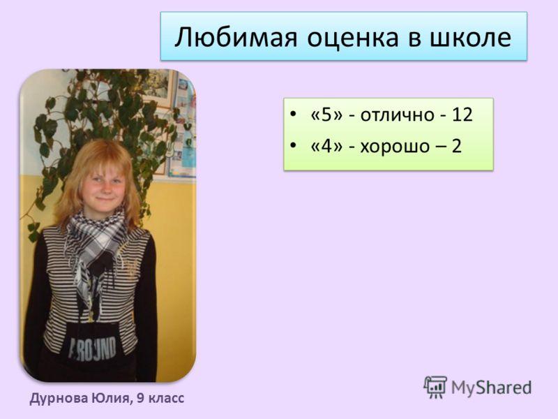 Любимая оценка в школе «5» - отлично - 12 «4» - хорошо – 2 «5» - отлично - 12 «4» - хорошо – 2 Дурнова Юлия, 9 класс
