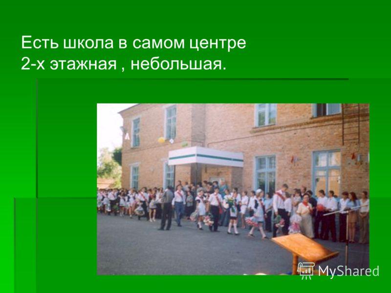 Есть школа в самом центре 2-х этажная, небольшая.