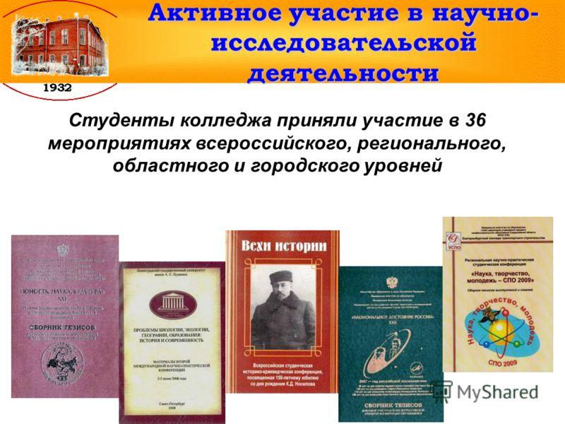 Активное участие в научно- исследовательской деятельности Cтуденты колледжа приняли участие в 36 мероприятиях всероссийского, регионального, областного и городского уровней