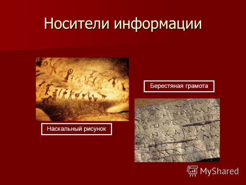 Носители информации Наскальный рисунок Берестяная грамота