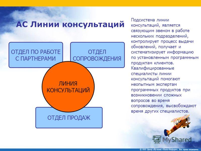 Подсистема линии консультаций, является связующим звеном в работе нескольких подразделений, контролирует процесс выдачи обновлений, получает и систематизирует информацию по установленным программным продуктам клиентов. Квалифицированные специалисты л