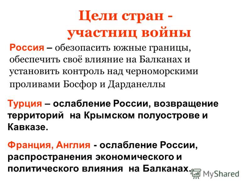 Цели стран - участниц войны Россия – обезопасить южные границы, обеспечить своё влияние на Балканах и установить контроль над черноморскими проливами Босфор и Дарданеллы Турция – ослабление России, возвращение территорий на Крымском полуострове и Кав
