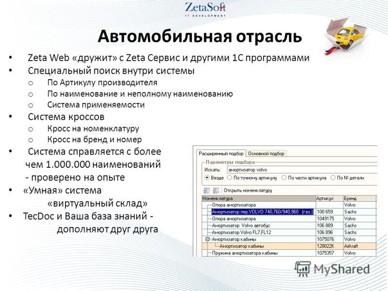 Автомобильная отрасль Zeta Web «дружит» с Zeta Сервис и другими 1С программами Специальный поиск внутри системы o По Артикулу производителя o По наименование и неполному наименованию o Система применяемости Система кроссов o Кросс на номенклатуру o К