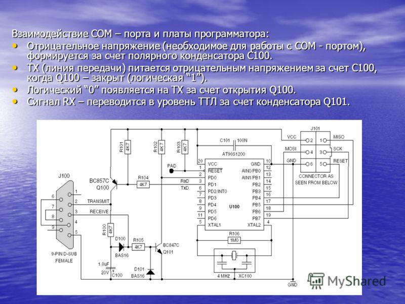 Взаимодействие COM – порта и платы программатора: Отрицательное напряжение (необходимое для работы с COM - портом), формируется за счет полярного конденсатора C100. Отрицательное напряжение (необходимое для работы с COM - портом), формируется за счет