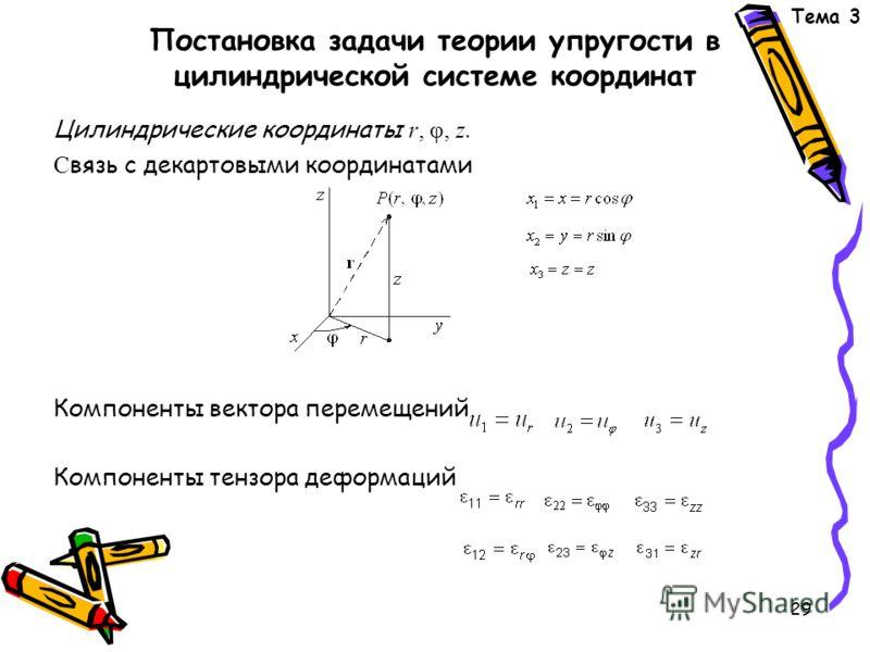 29 Постановка задачи теории упругости в цилиндрической системе координат Цилиндрические координаты r, φ, z. С вязь с декартовыми координатами Компоненты вектора перемещений Компоненты тензора деформаций Тема 3