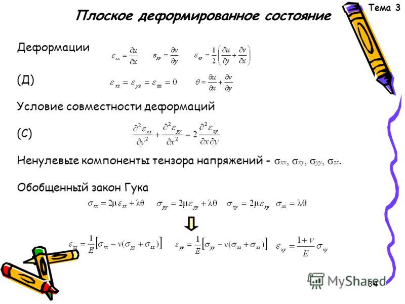 34 Плоское деформированное состояние Деформации (Д) Условие совместности деформаций (С) Ненулевые компоненты тензора напряжений - σ xx, σ xy, σ yy, σ zz. Обобщенный закон Гука Тема 3,