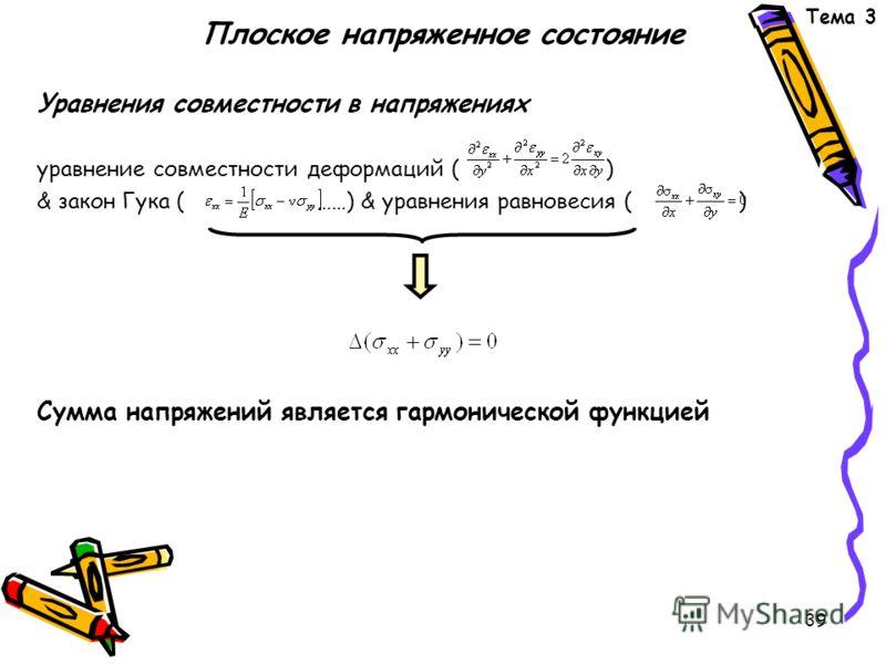 39 Плоское напряженное состояние Уравнения совместности в напряжениях уравнение совместности деформаций ( ) & закон Гука ( ……) & уравнения равновесия ( ) Сумма напряжений является гармонической функцией Тема 3