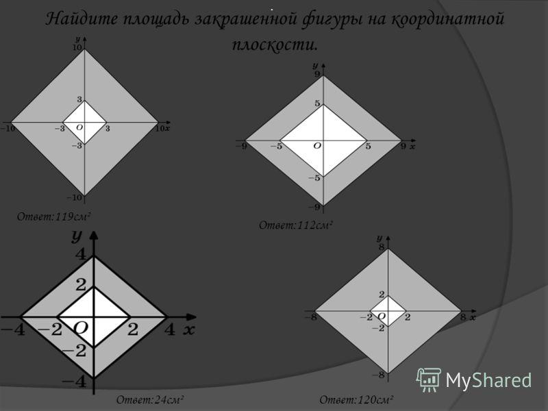 Найдите площадь закрашенной фигуры на координатной плоскости.. Ответ:119см² Ответ:112см² Ответ:24см²Ответ:120см²
