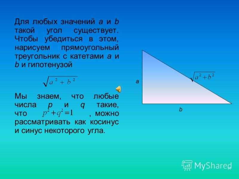 11 Для любых значений а и b такой угол существует. Чтобы убедиться в этом, нарисуем прямоугольный треугольник с катетами а и b и гипотенузой Мы знаем, что любые числа p и q такие, что, можно рассматривать как косинус и синус некоторого угла. а b