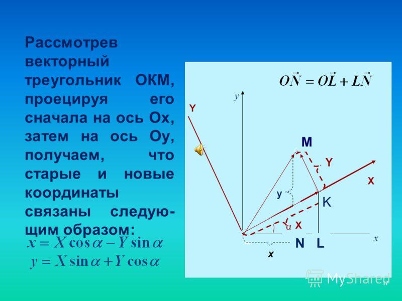 17 Рассмотрев векторный треугольник ОКМ, проецируя его сначала на ось Ох, затем на ось Оу, получаем, что старые и новые координаты связаны следую- щим образом: О х у α Y X Y y x X M N K L