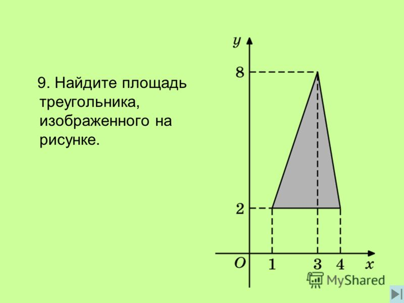 9. Найдите площадь треугольника, изображенного на рисунке.