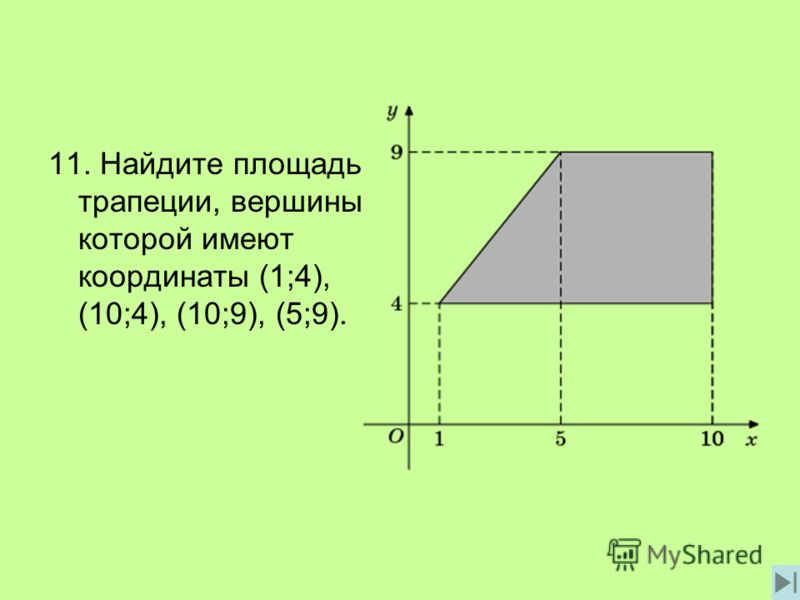 11. Найдите площадь трапеции, вершины которой имеют координаты (1;4), (10;4), (10;9), (5;9).
