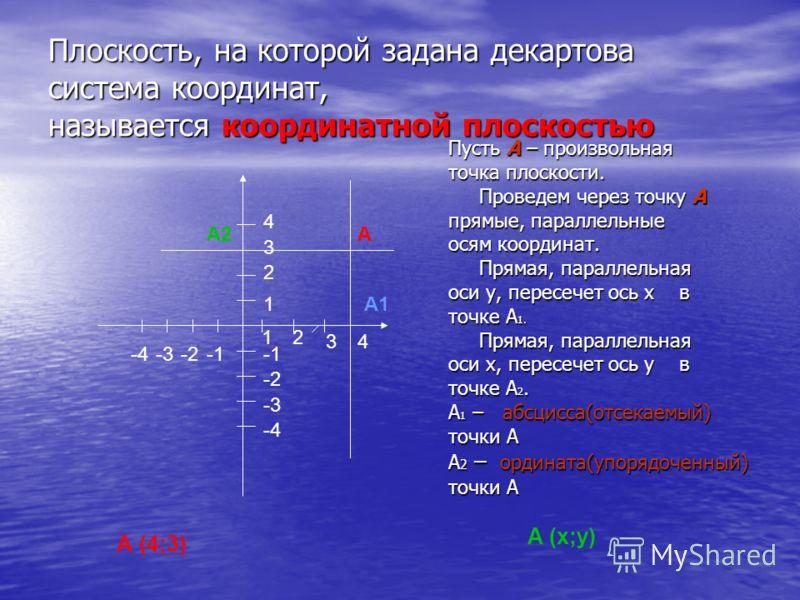Плоскость, на которой задана декартова система координат, называется координатной плоскостью Пусть А – произвольная точка плоскости. Проведем через точку А Проведем через точку А прямые, параллельные осям координат. Прямая, параллельная Прямая, парал