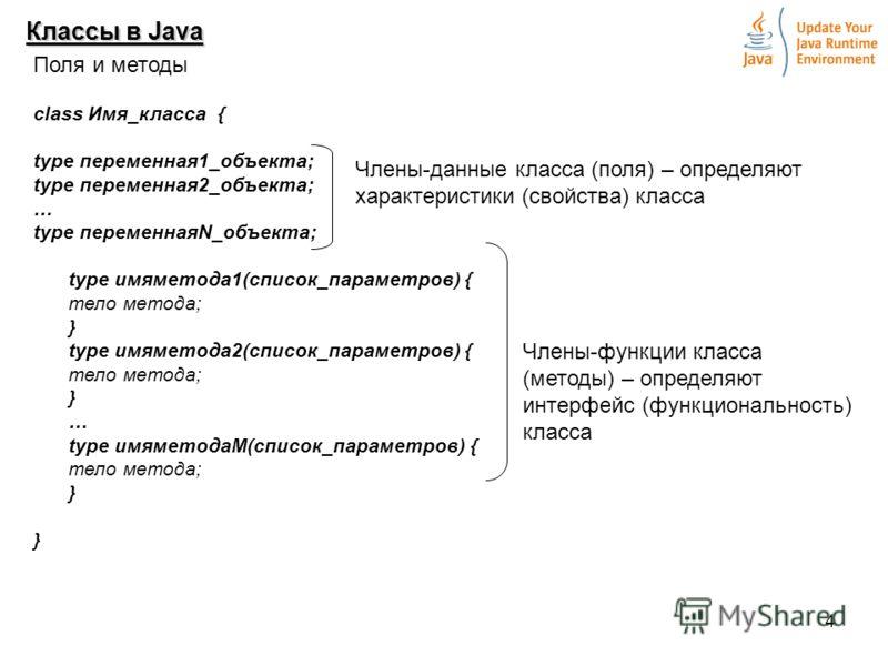 4 Классы в Java Поля и методы class Имя_класса { type переменная1_объекта; type переменная2_объекта; … type переменнаяN_объекта; type имяметода1(список_параметров) { тело метода; } type имяметода2(список_параметров) { тело метода; } … type имяметодаМ