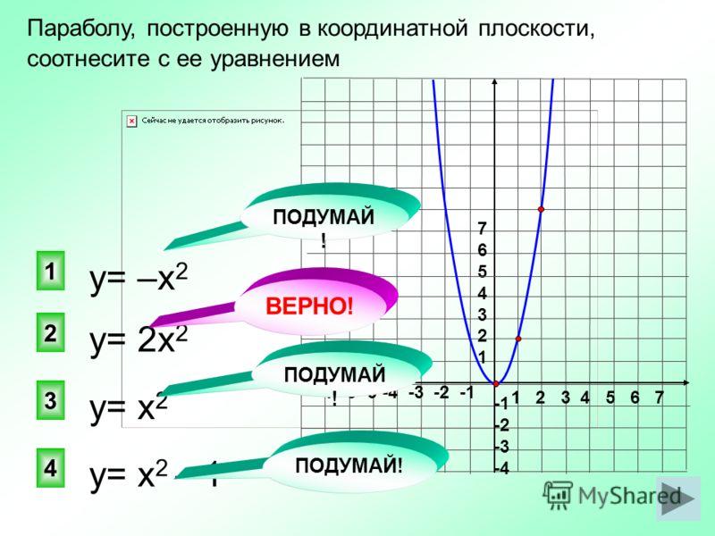 у= 2х 2 2 1 3 4 Параболу, построенную в координатной плоскости, соотнесите с ее уравнением у= –х 2 у= х 2 у= х 2 – 1 1 2 3 4 5 6 7 -7 -6 -5 -4 -3 -2 -1 76543217654321 -2 -3 -4 ПОДУМАЙ ! ВЕРНО! ПОДУМАЙ !