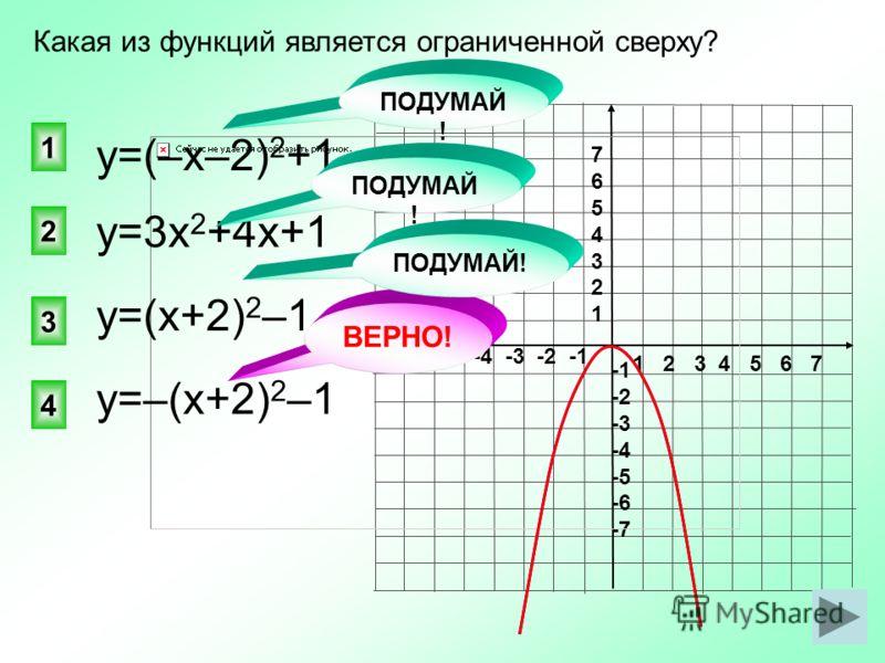 1 2 3 4 5 6 7 -7 -6 -5 -4 -3 -2 -1 76543217654321 -2 -3 -4 -5 -6 -7 ВЕРНО! у=3х 2 +4х+1 4 2 1 3 Какая из функций является ограниченной сверху? у=(–х–2) 2 +1 у=(х+2) 2 –1 у=–(х+2) 2 –1 ПОДУМАЙ !