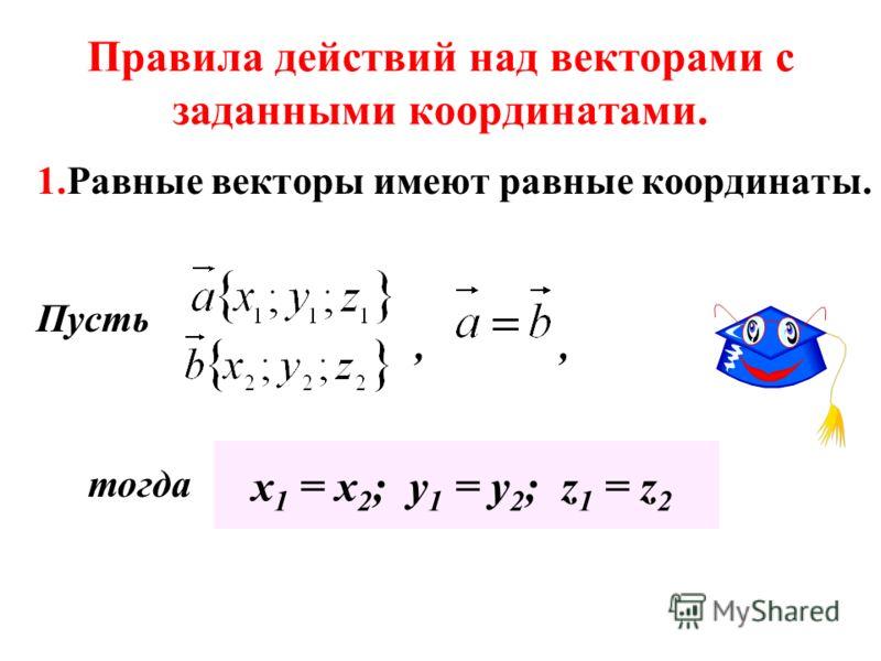 Правила действий над векторами с заданными координатами. 1.Равные векторы имеют равные координаты. Пусть, х 1 = х 2 ; у 1 = у 2 ; z 1 = z 2 тогда,