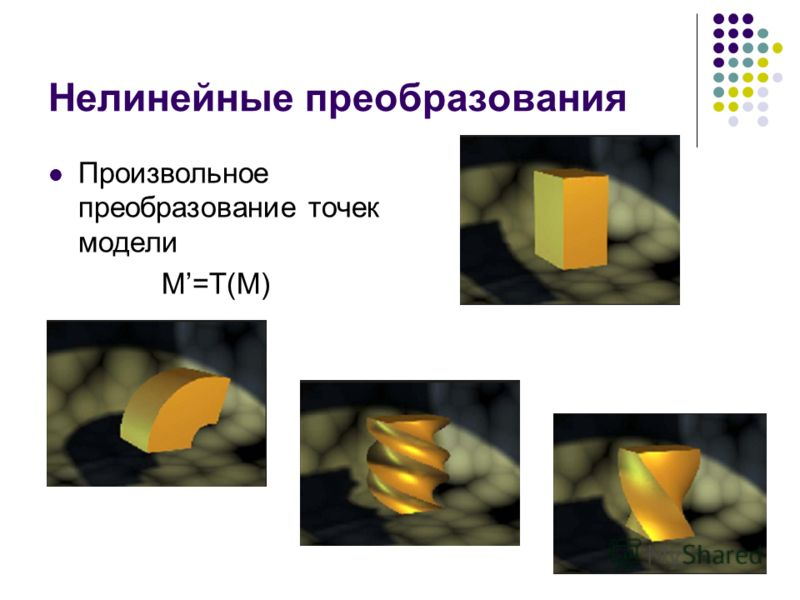 Нелинейные преобразования Произвольное преобразование точек модели M=T(M)