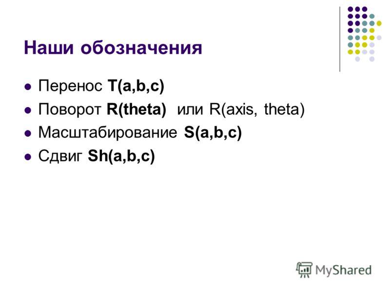 Наши обозначения Перенос T(a,b,c) Поворот R(theta) или R(axis, theta) Масштабирование S(a,b,c) Сдвиг Sh(a,b,c)