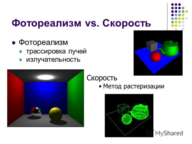 Фотореализм vs. Скорость Фотореализм трассировка лучей излучательность Скорость Метод растеризации