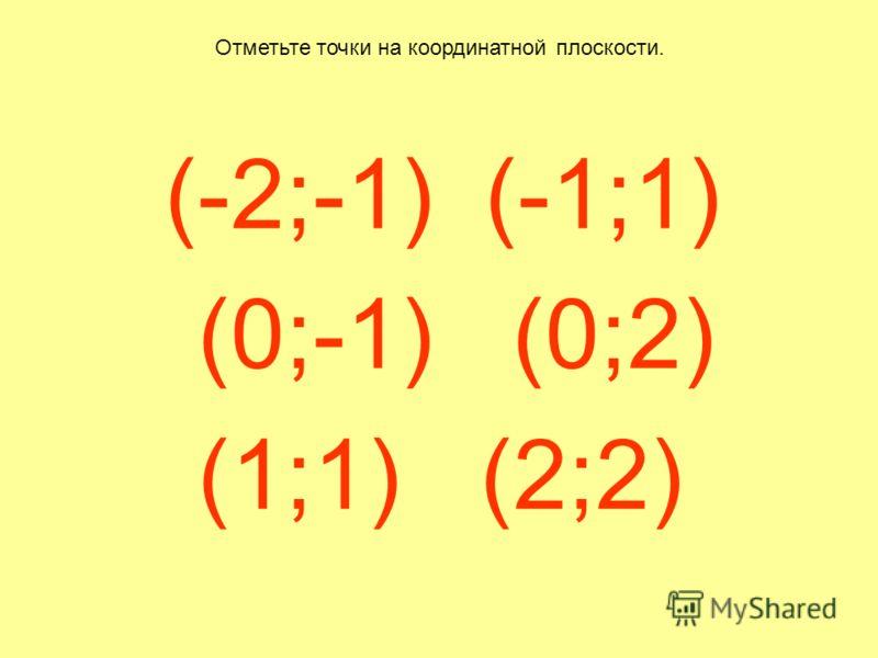 (-2;-1) (-1;1) (0;-1) (0;2) (1;1) (2;2) Отметьте точки на координатной плоскости.