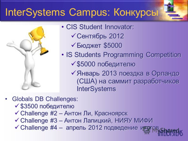 InterSystems Campus: Конкурсы CIS Student Innovator:CIS Student Innovator: Сентябрь 2012 Сентябрь 2012 Бюджет $5000 Бюджет $5000 IS Students Programming CompetitionIS Students Programming Competition $5000 победителю $5000 победителю Январь 2013 поез