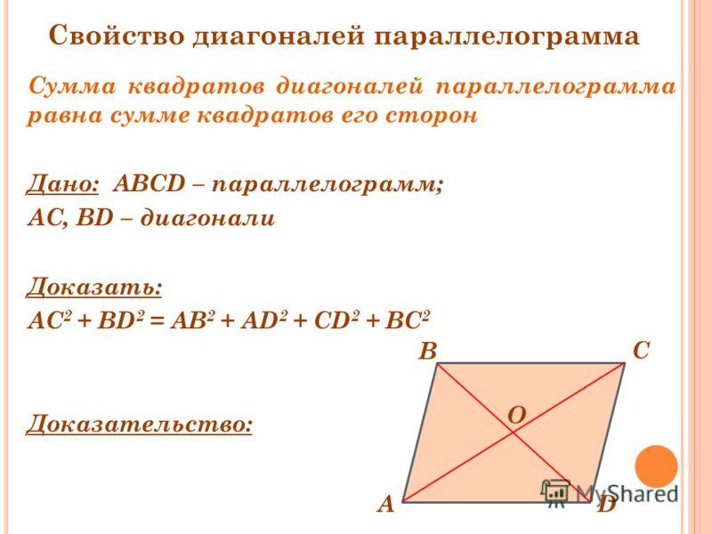 Сумма квадратов диагоналей параллелограмма равна сумме квадратов его сторон Дано: ABCD – параллелограмм; АС, BD – диагонали Доказать: АС 2 + BD 2 = AB 2 + AD 2 + CD 2 + BC 2 Доказательство: D C А B O Свойство диагоналей параллелограмма