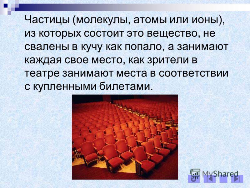 Частицы (молекулы, атомы или ионы), из которых состоит это вещество, не свалены в кучу как попало, а занимают каждая свое место, как зрители в театре занимают места в соответствии с купленными билетами.