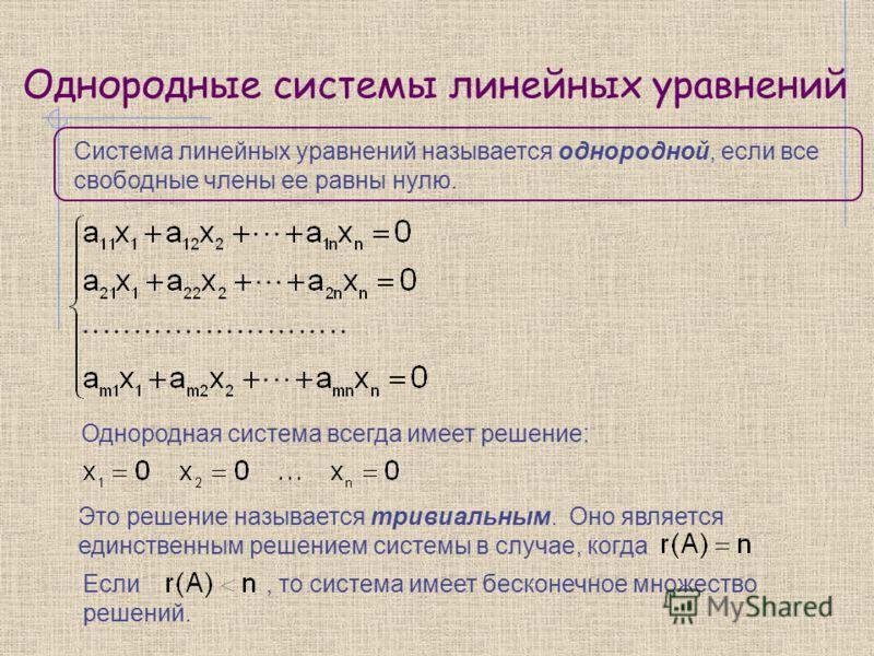 Однородные системы линейных уравнений Система линейных уравнений называется однородной, если все свободные члены ее равны нулю. Однородная система всегда имеет решение: Это решение называется тривиальным. Оно является единственным решением системы в
