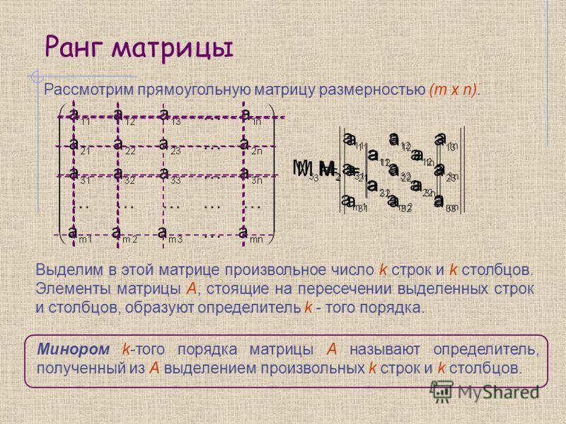 Ранг матрицы Рассмотрим прямоугольную матрицу размерностью (m x n). Выделим в этой матрице произвольное число k строк и k столбцов. Элементы матрицы А, стоящие на пересечении выделенных строк и столбцов, образуют определитель k - того порядка. Миноро