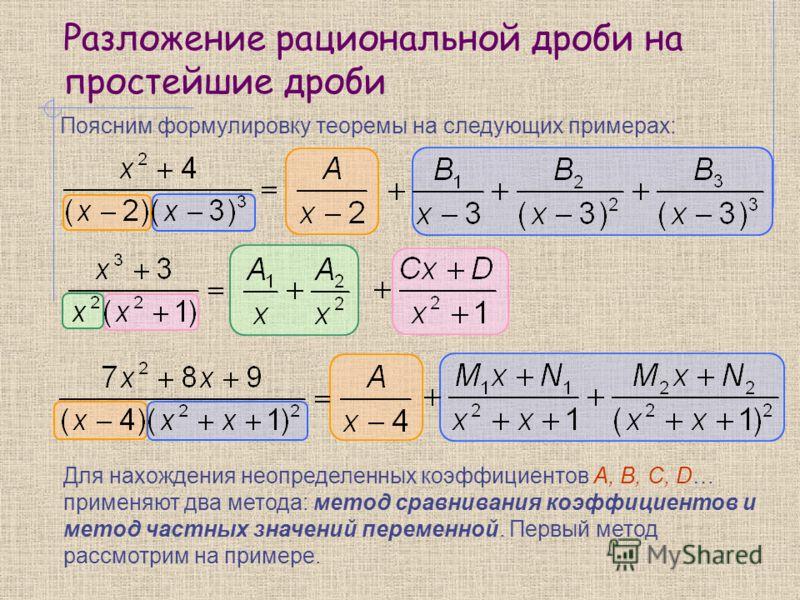 Разложение рациональной дроби на простейшие дроби Поясним формулировку теоремы на следующих примерах: Для нахождения неопределенных коэффициентов A, B, C, D… применяют два метода: метод сравнивания коэффициентов и метод частных значений переменной. П