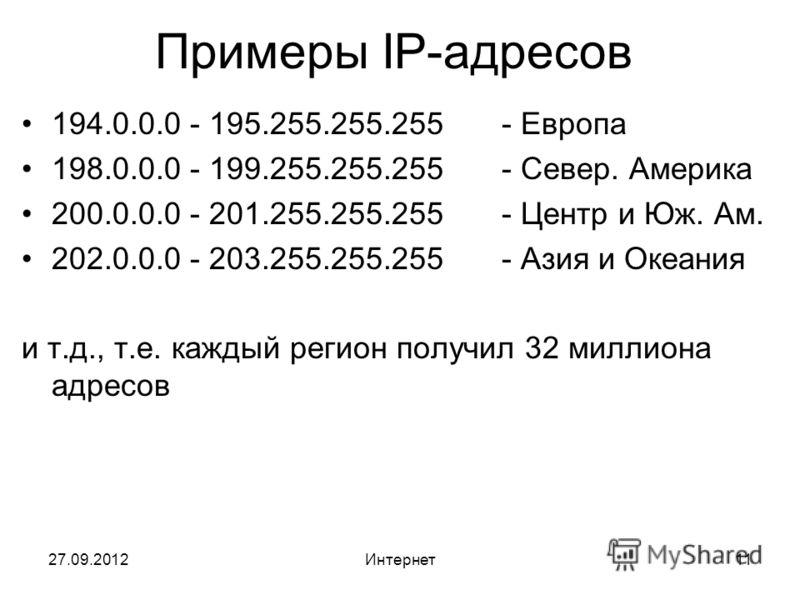 27.09.2012Интернет11 Примеры IP-адресов 194.0.0.0 - 195.255.255.255- Европа 198.0.0.0 - 199.255.255.255- Север. Америка 200.0.0.0 - 201.255.255.255- Центр и Юж. Ам. 202.0.0.0 - 203.255.255.255- Азия и Океания и т.д., т.е. каждый регион получил 32 мил