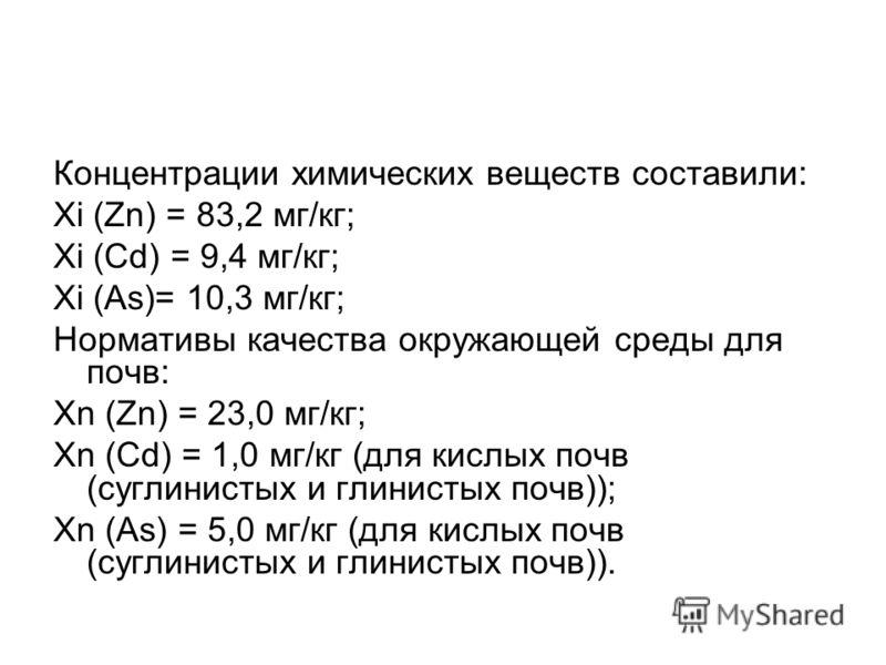 Концентрации химических веществ составили: Xi (Zn) = 83,2 мг/кг; Xi (Cd) = 9,4 мг/кг; Xi (As)= 10,3 мг/кг; Нормативы качества окружающей среды для почв: Xn (Zn) = 23,0 мг/кг; Xn (Cd) = 1,0 мг/кг (для кислых почв (суглинистых и глинистых почв)); Xn (A