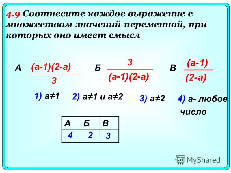 1) а1 2) а1 и а2 3) а2 4) а- любое число АБВ 42 3 БВА 4.9 Соотнесите каждое выражение с множеством значений переменной, при которых оно имеет смысл