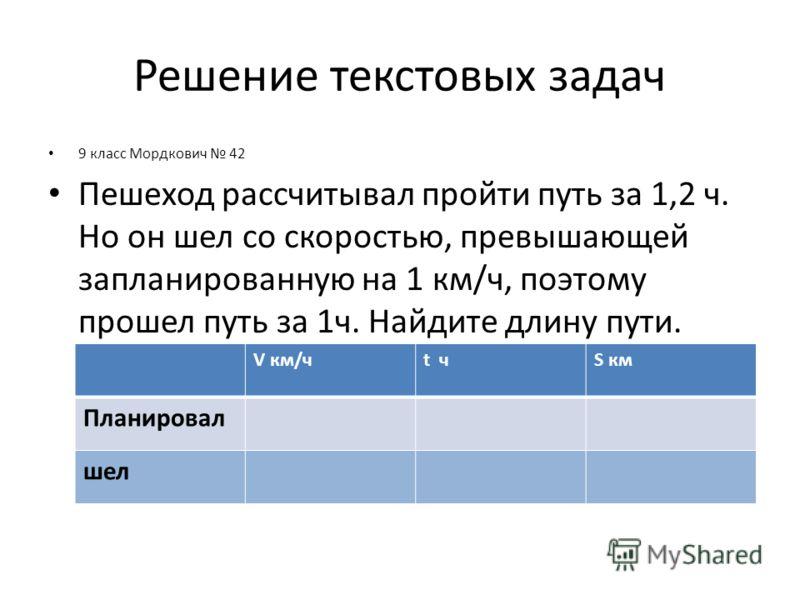 Решение текстовых задач 9 класс Мордкович 42 Пешеход рассчитывал пройти путь за 1,2 ч. Но он шел со скоростью, превышающей запланированную на 1 км/ч, поэтому прошел путь за 1ч. Найдите длину пути. V км/чt чS км Планировал шел