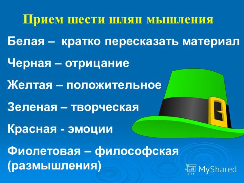 Прием шести шляп мышления Белая – кратко пересказать материал Черная – отрицание Желтая – положительное Зеленая – творческая Красная - эмоции Фиолетовая – философская (размышления)
