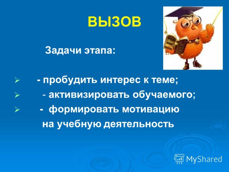ВЫЗОВ Задачи этапа: - пробудить интерес к теме; - активизировать обучаемого; - формировать мотивацию на учебную деятельность